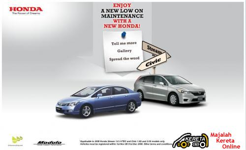 HONDA MALAYSIA LAUNCHED A SPECIAL TWO-MONTH YEAR-END CAMPAIGN FOR HONDA STREAM AND HONDA CIVIC - Low on Maintenance with A New Honda