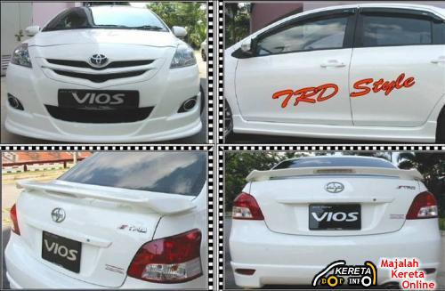 toyota vios trd body kit full skirt spoilers