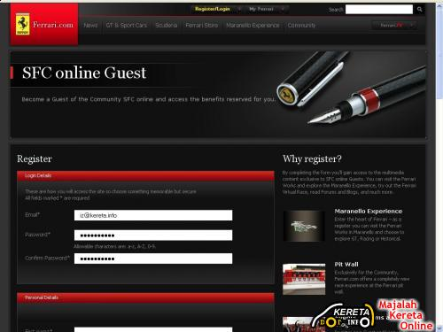 Ferrari Registration Form