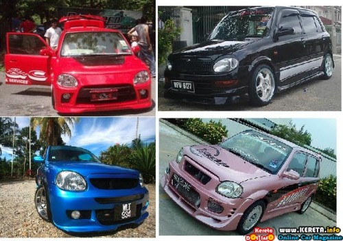 modified kelisa modification bodykit colour black purple blue red perodua custom 500x352