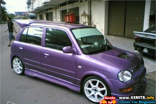 purple bodykit spoiler bumper skirtings with white sport rims perodua kelisa