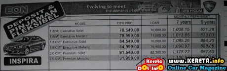 Proton inspira price list rm monthly payment